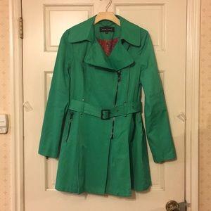 Black Rivet Green Floral Raincoat M